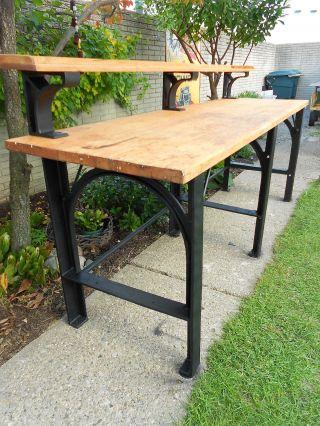 Antique Maple Butcher Block Workbench Steampunk Table Cast Iron Kitchen Island photo