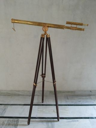 Brass Telescope Double Barrel Griffith Astro With Wooden Tripod Stand photo