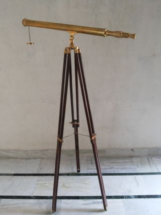 Antique Nautical Brass Telescope With Wooden Tripod Stand photo