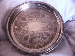 Leonard Ep Engraved Silver Tray 12in X 1 1/2 In Antique Ex++ Condition Look - C photo