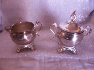 Gorham Newport Silver Plate Sugar Bowl & Creamer Antique Ex++ Condition Look - C photo