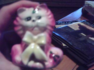 Pink Antique Porcelain Cat Shaker photo