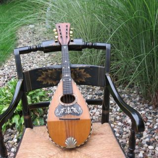 Antique 1891 Bowl Back Mandolin Tater Bug 8 String With Mop Inlay Vintage photo