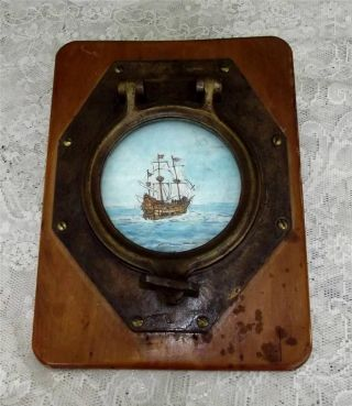 Antique Bronze Ships Porthole Brass Mounted With Antique Oil Painting On Canvass photo