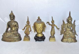 5 Vintage Chinese,  Tibetan Or South Asian Brass Buddhas & Statues (5.  9