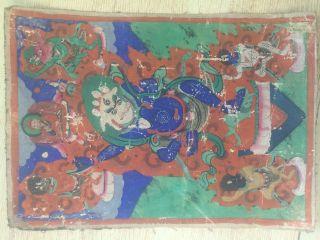 Mongolian Antique Buddhist Old Thangka Paint 18 - 19c (rare) photo