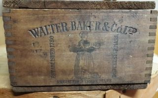 Antique Unusual Walter Baker & Co Wood Chocolate Box Crate 6 Lb Paris Expo 1900 photo