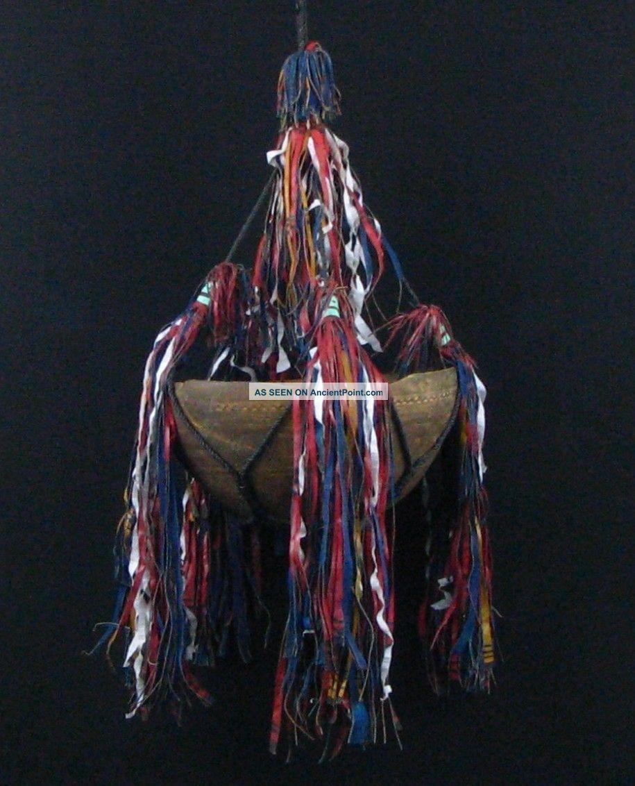 African Art Authentic Tuareg Old Hanging Wood Milk Bowl Sahara Nomadic Tribe Other photo