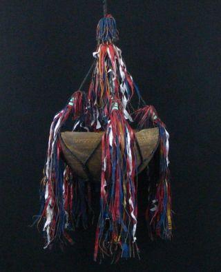 African Art Authentic Tuareg Old Hanging Wood Milk Bowl Sahara Nomadic Tribe photo