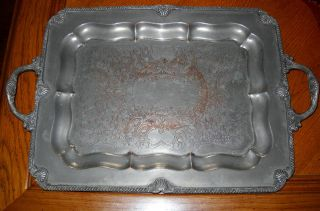 Antique Federal Silver Co.  Silver On Copper Engraved Large Double Handled Tray photo