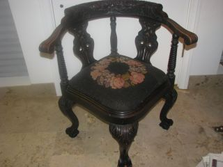 Antique Victorian Chippendale Style Corner Chair Circa 1880 photo