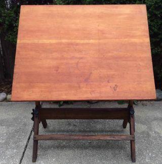 Antique Vintage 1930s Hamilton Economy Oak Maple 4 Ft.  Drafting Table photo