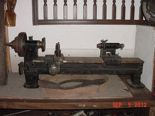 1800 ' S Iron Flat Belt Lathe: Rare Steam Age/steampunk Antique A1 Industrial Tool photo