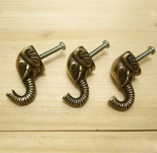 Of 3 Pcs Solid Brass Vintage Elephant Hook Antique Coat Wall Mount Hooks photo