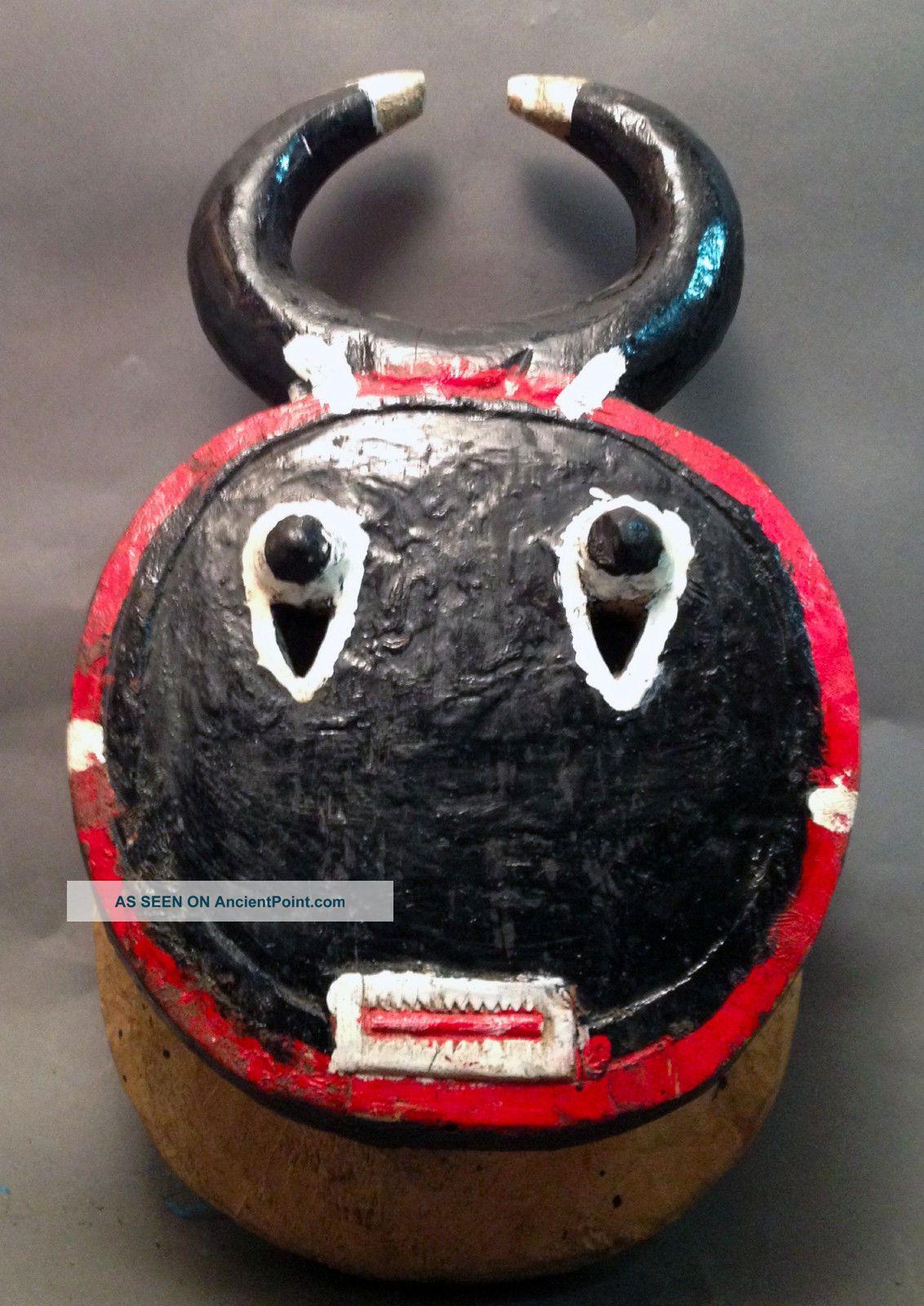 Baule Goli African Keple Wood Horn Face Mask Cote I ' Voire Ethnix Other photo