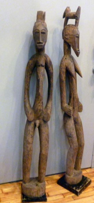 Senufo African Figure Couple Rhythm Pounder Male Female Statue Ethnix photo