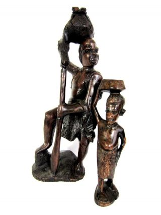 Wonderful Vintage Hand Carved Wooden African Tribal Sculpture Figure photo