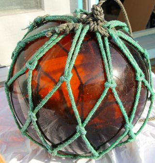 Vintage Japanese Glass Fishing Float,  With Maker ' S Mark,  And Rope photo