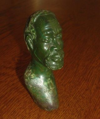 Antique African Man Bust Orig Stone Carving / Sculpture Man 3