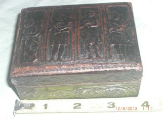 Antique Embossed Leather Box - 4 Antechambers - Angels/collectible - Brown photo