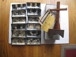 Vintage Keystone Model 40 Eye Comfort Stereoscope 12 Stereoviews Box Papers photo
