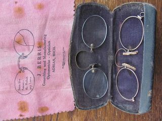 2 Antique Eyewear Stic - Tite Style Spectacles W/ Case & Cloth Advertisement photo