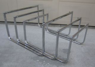 Set Aluminum Group Chrome Nesting Tables Milo Baughman Mid Century Modern photo