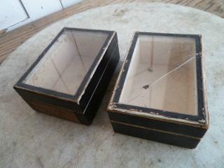 Antique Glass Topped Small Museum Display Boxes photo
