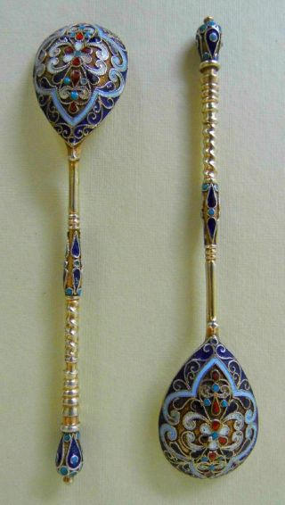 Antique Imperial Russian Spoons Silver & Cloisonne,  Gilded.  A Pair.  Very Pretty. photo