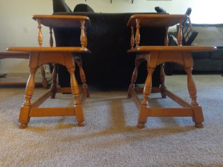 Antique Colonial Craft Solid Maple Wood Coffee Table / End Table Matching Set photo