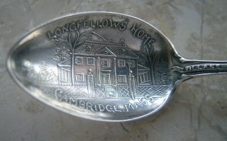 Antique Longfellow Portland Me Landmark Sterling Souvenir Spoon photo