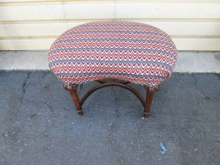 54072 Antique Crewel Upholstered Kidney Footstool photo