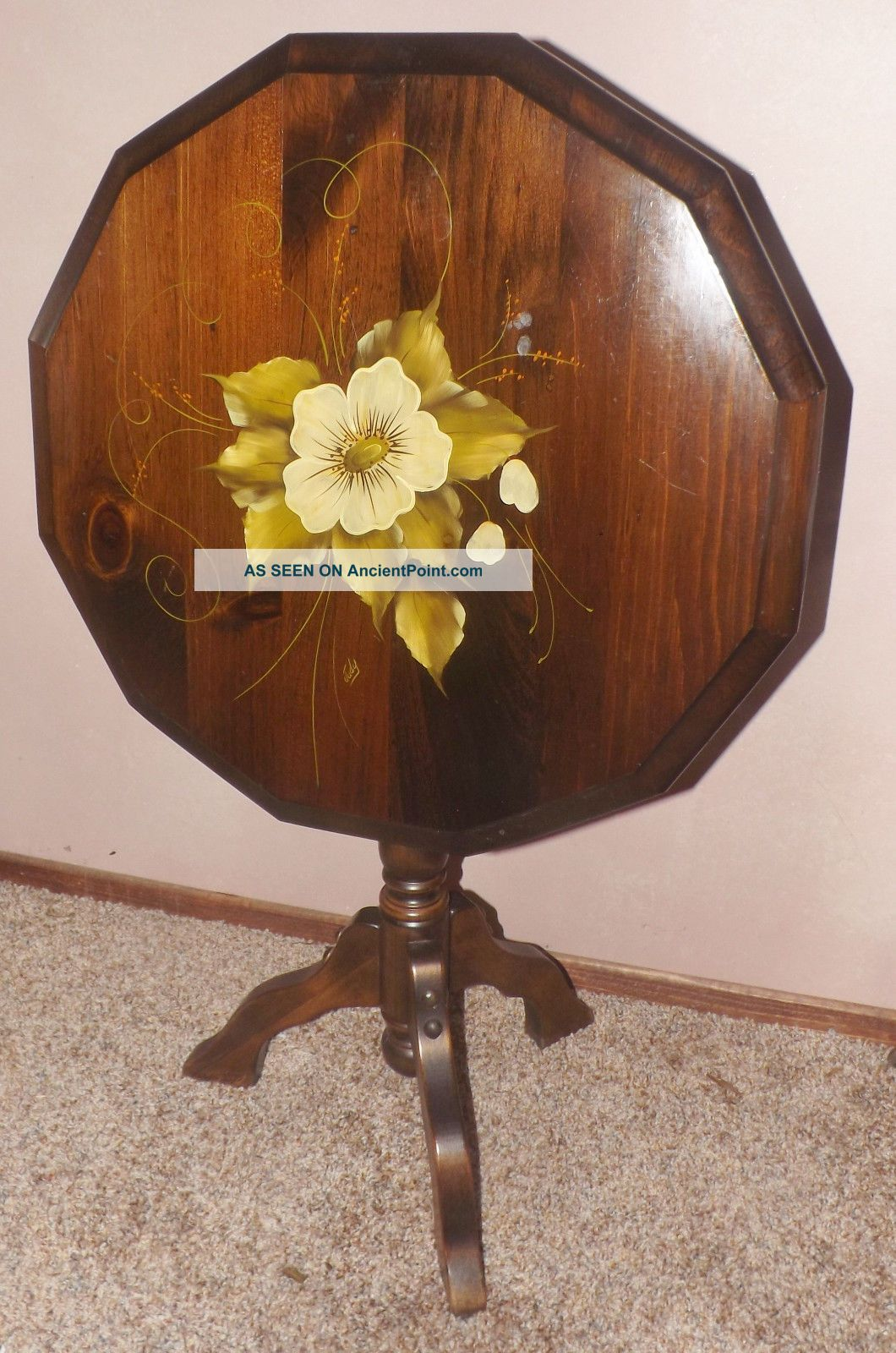 Antique Tilt Top Table Hand Painted Top Signed Dogwood Or Magnolia Flowers Unknown photo
