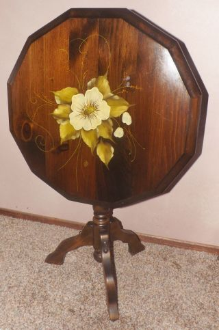 Antique Tilt Top Table Hand Painted Top Signed Dogwood Or Magnolia Flowers photo