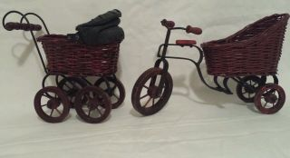 Vintage Wicker Wood Cloth Metal Miniature Baby Doll Buggy & Tricycle photo
