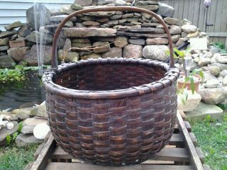 1800s New England Early Hand Woven Splint Gathering Basket photo