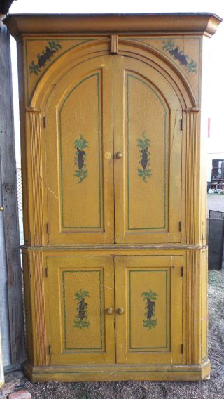 19th Cent.  Mustard Yellow Orig Paint Pine Corner Cupboard Prob.  Pennsylvania 2pc photo