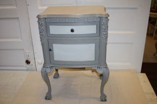 Antique Night Stand Table Painted Blue Gray French Victorian Carved Feet Scrolls photo
