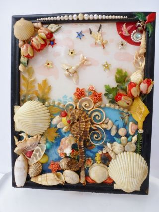 Seahorse & Seashells Sailor's Valentine Early Handcrafted Nautical Memory Art photo