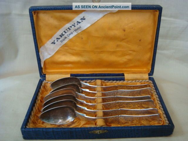 Rare Antique Ottoman Turkish Silver Yea Spoons Set In Box. Middle East photo