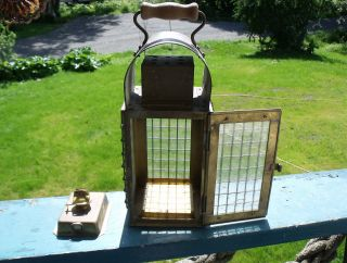 Lantern,  Brass Chief Engineer ' S Hand Lantern W/wooden Handle,  1930 ' S photo