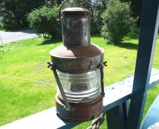 Lantern,  Lrg.  Old Anchor Lantern,  Heavy 1943,  Glass,  Ships Over 65 ' photo