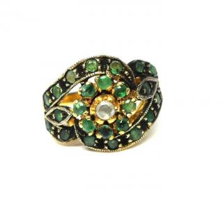 Rose Cut Diamond & Emerald Gold Plated Antique Look Jewelry Ring Size 7.  25 photo