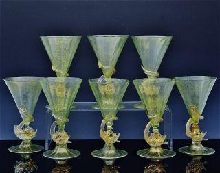 8 Venetian Murano Dolphin Figural Gold Dust Italian Art Glass Large Wine Glasses photo