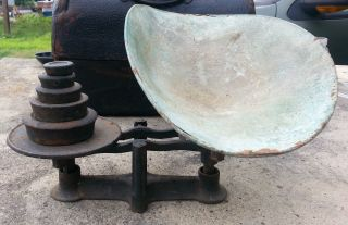 Antique Scale Drug Store Candy Cast Iron Steampunk Primitive Balance Beam Pan photo