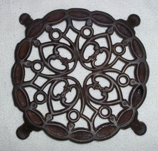 Early 1800s Cast Iron Trivet Hearts & Lace Paw Feet Americana Finish photo