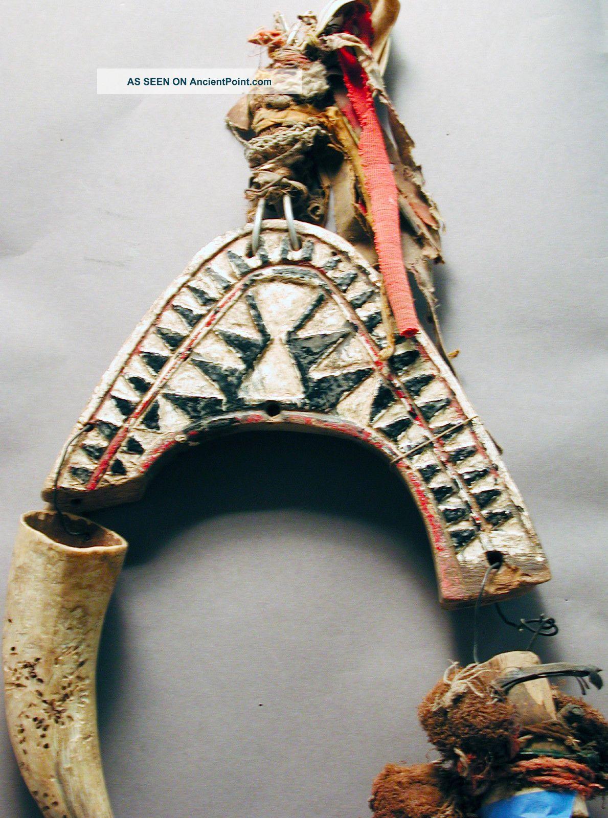 Bidjogo African Animal Head Mask Wood W Horn Raffia Bisagos Gineua Bissau Ethnix Other photo