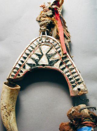 Bidjogo African Animal Head Mask Wood W Horn Raffia Bisagos Gineua Bissau Ethnix photo