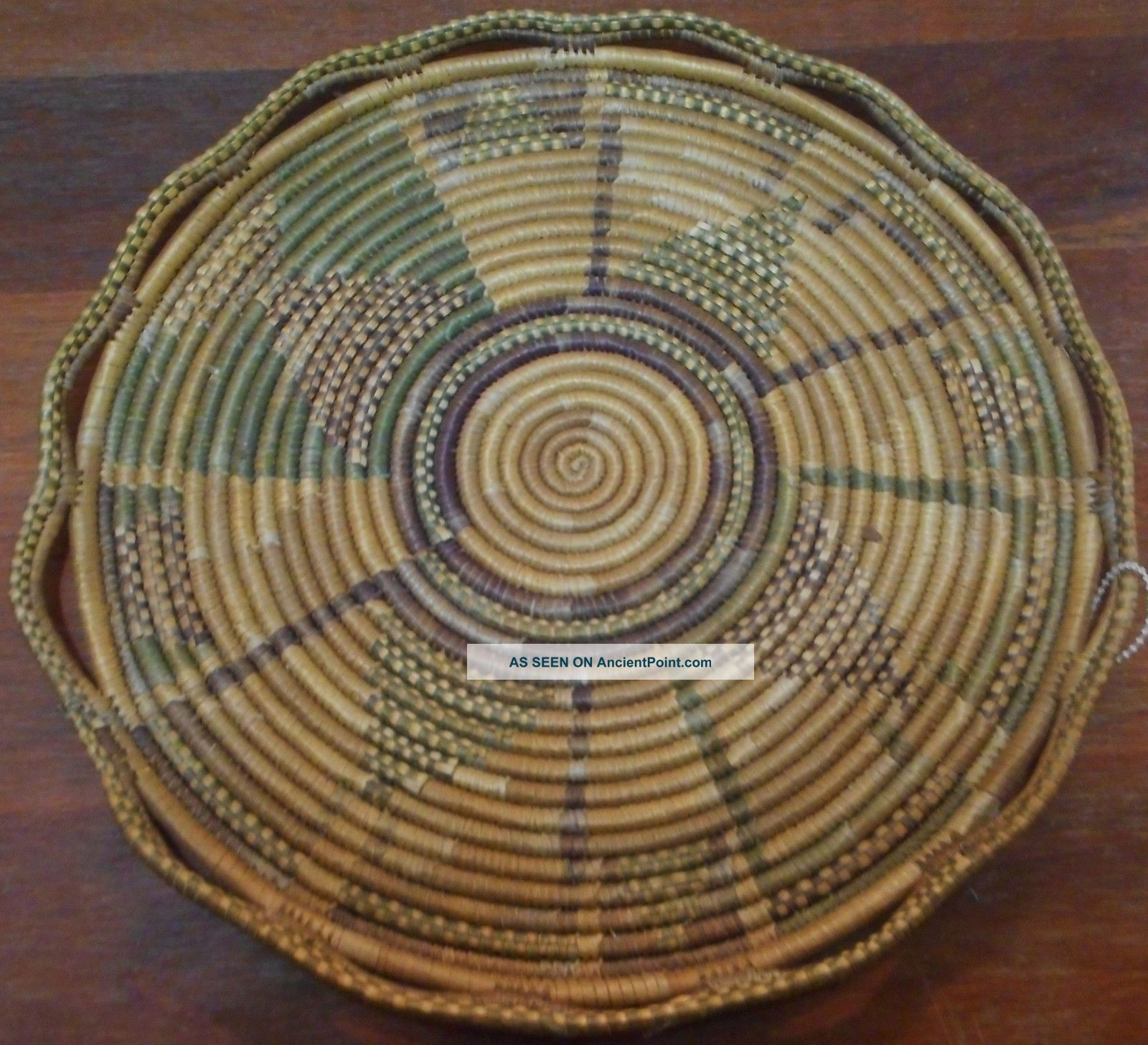 Vtg American Indian Tray Plate Woven 1800s Natural Dyes Coiled Fancy Edge Native American photo