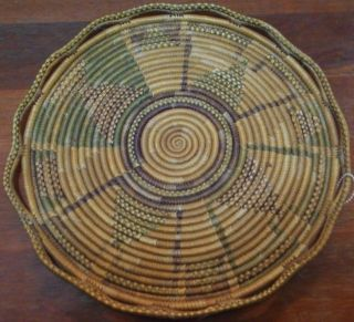 Vtg American Indian Tray Plate Woven 1800s Natural Dyes Coiled Fancy Edge photo